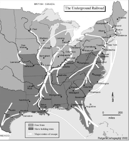 The routes of the Underground Railroad during the Abolition Movement.